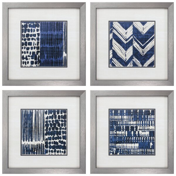 Indigo Batik Framed Graphic Art Set (Set of 4) by Propac Images