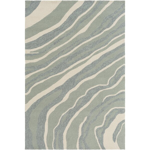 Mireia Modern Abstract Hand-Tufted Wool Green/Beige Area Rug by Ivy Bronx