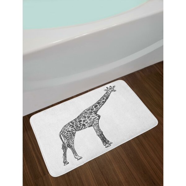 Long Neck Animal Spotted Skin Hand Drawn Sketch Art Wildlife Illustration Bath Rug by East Urban Home