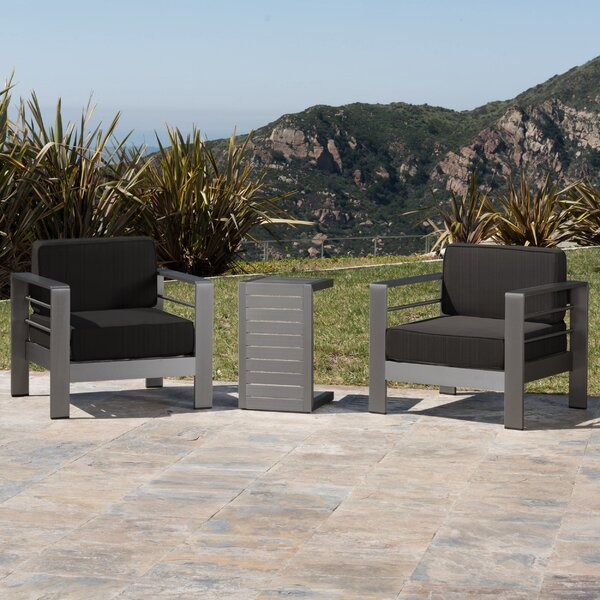 Crosstown 3 Piece Conversation Set with Cushions by Brayden Studio