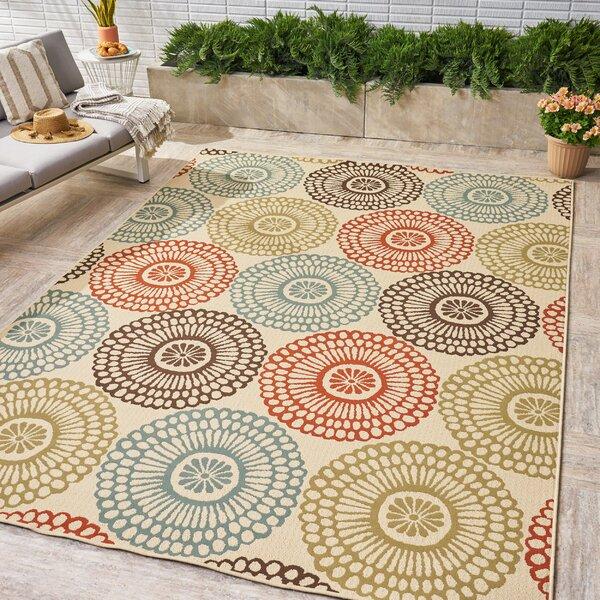 Lecuyer Floral Beige Indoor/Outdoor Area Rug by Red Barrel Studio