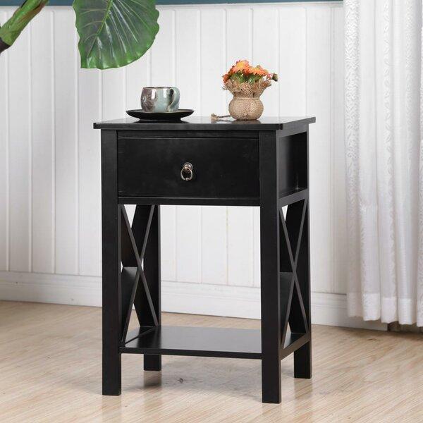 Elderflower X-Design Storage Shelf 1 Drawer Nightstand By Winston Porter