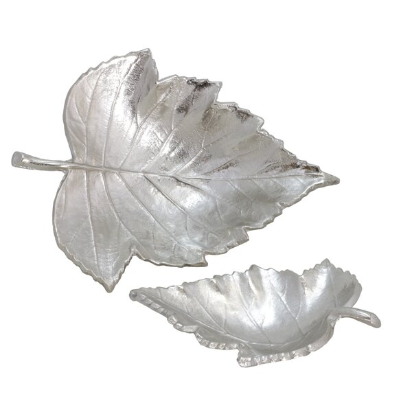 Thistletown Leaves 2 Piece Sculpture Set by Millwood Pines