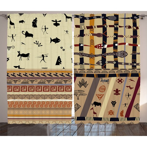 Yepez Primitive  Graphic Print and Text Semi-Sheer Rod Pocket Curtain Panels (Set of 2) by World Menagerie