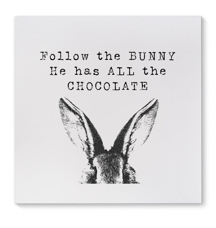ëFollow the Bunnyí Graphic Art on Wrapped Canvas