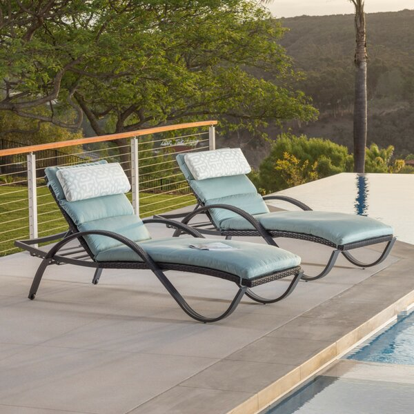 Northridge Reclining Chaise Lounge with Sunbrella Cushion (Set of 2) by Three Posts
