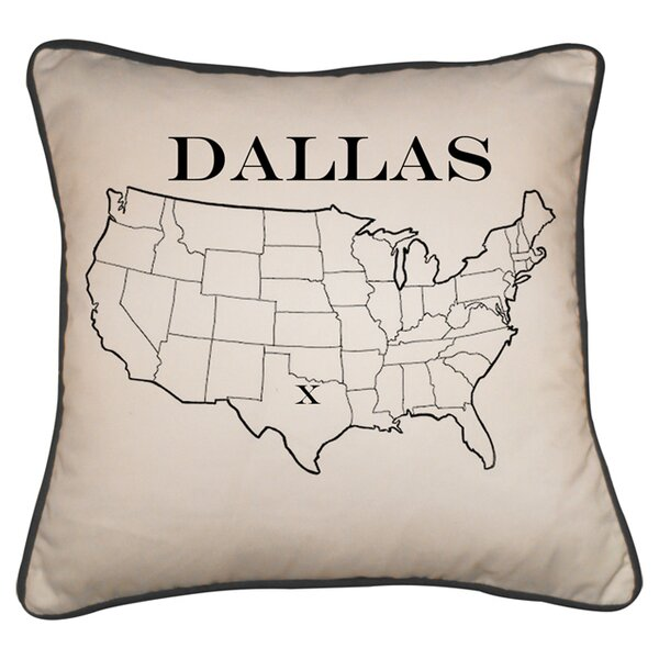 Dallas Map Linen/Cotton Throw Pillow by Provence Home Collection
