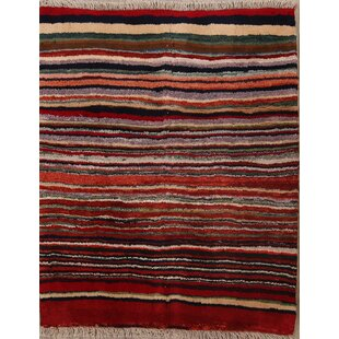 Best One-of-a-Kind Maciel Shiraz Gabbeh Persian Hand-Knotted 4' 4'' x 3' 6'' Wool Red/Black Area Rug By Isabelline