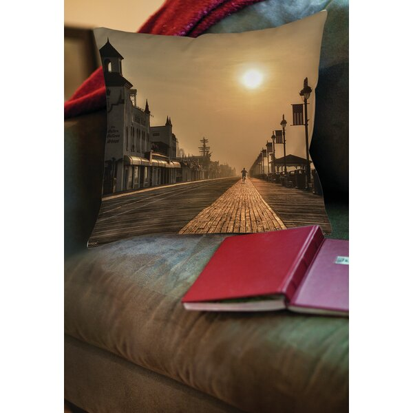 Boardwalk Sunrise Printed Throw Pillow by Manual Woodworkers & Weavers