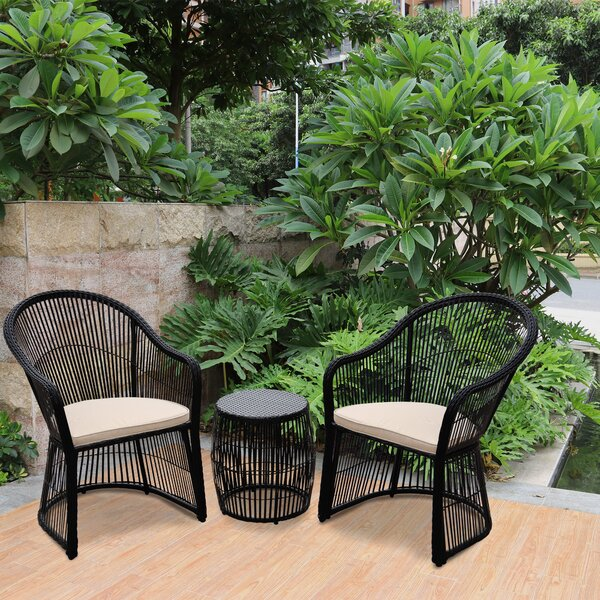 3 Piece Rattan Seating Group with Cushions by Bungalow Rose