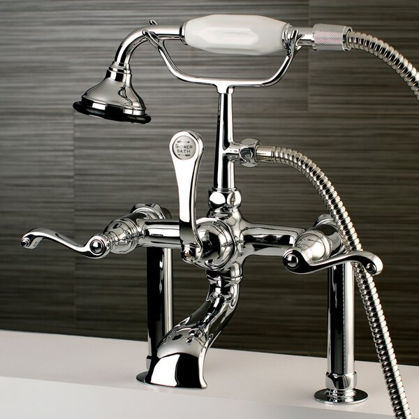 Royale Triple Handle Deck Mounted Clawfoot Tub Faucet with Hand Shower by Kingston Brass