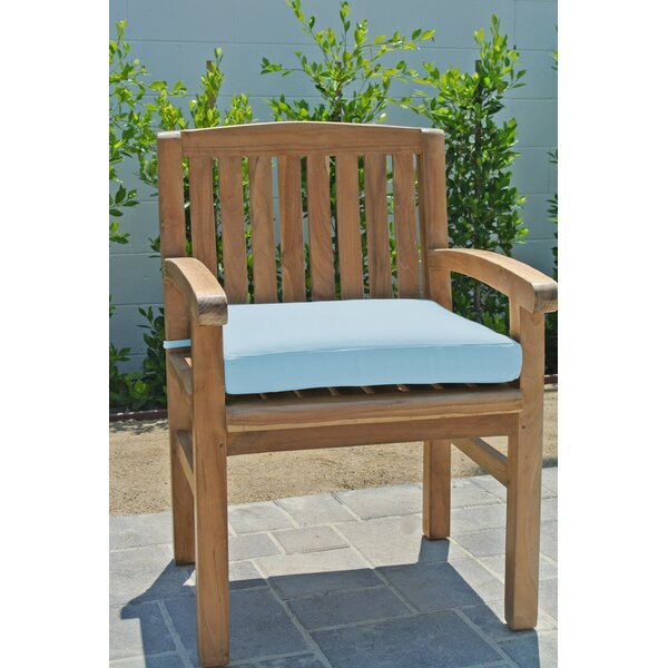 Crescio Teak Patio Dining Chair with Cushion by Foundry Select