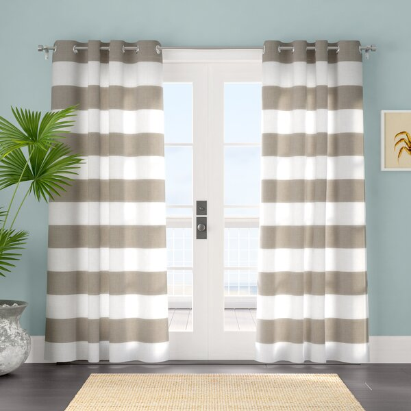 Plant City Striped Room Darkening Grommet Curtain Panels (Set of 2) by Beachcrest Home