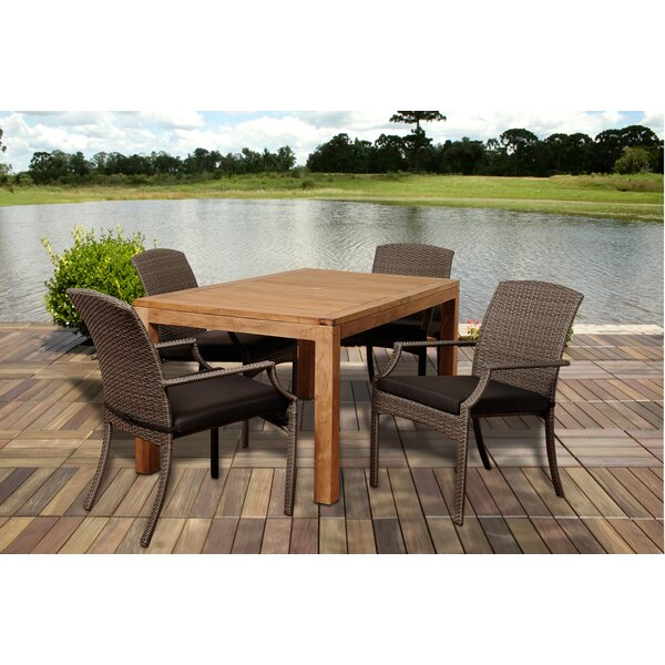 Garris 5 Piece Teak Dining Set With Cushions by Beachcrest Home