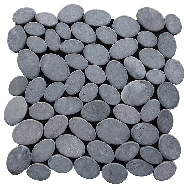 Coin Random Sized Natural Stone Pebble Tile in Grey by Pebble Tile