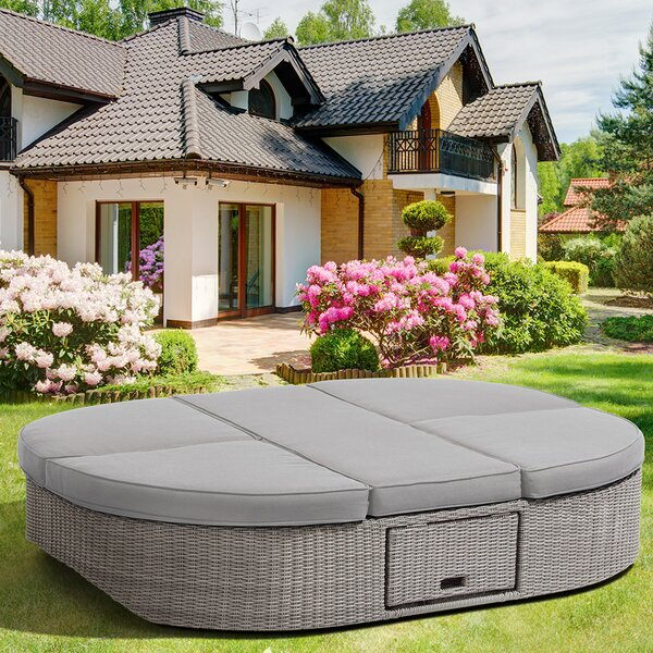 Sandra Outdoor Patio Daybed with Cushions by Ove Decors