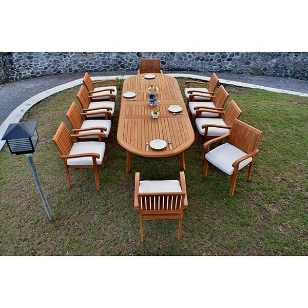 Haley Luxurious 11 Piece Teak Dining Set by Rosecliff Heights