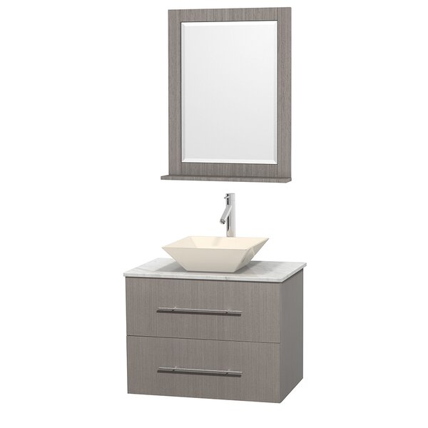 Centra 30 Single Gray Oak Bathroom Vanity Set with Mirror by Wyndham Collection