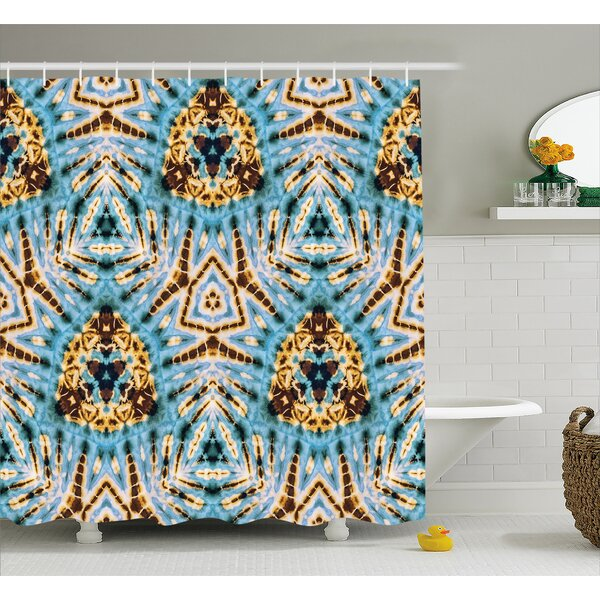 Auchincloss Tie Dye Tribal Stylized Trippy Shapes With Dirt Grungy Paint Reflections Artisan Print Shower Curtain by World Menagerie