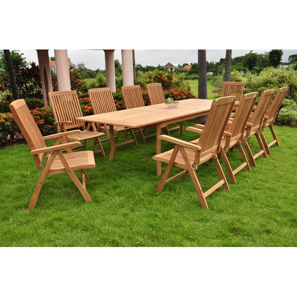 Harlow Luxurious 11 Piece Teak Dining Set by Rosecliff Heights