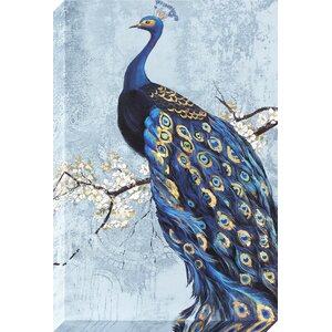 Ornate Peacock Graphic Art on Wrapped Canvas by World Menagerie
