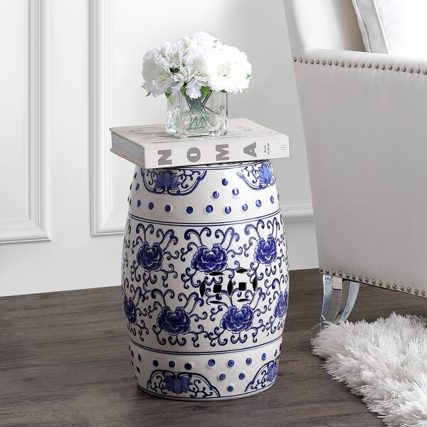 Horwich Flower Chinoiserie Ceramic Garden Stool by Ophelia & Co. Ophelia & Co.
