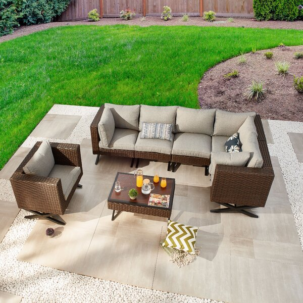 Rimersburg 7 Piece Sectional Seating Group with Cushions by Latitude Run
