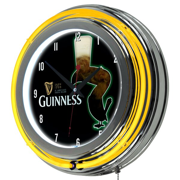 Guinness Feathering Neon 14.5 Wall Clock by Trademark Global