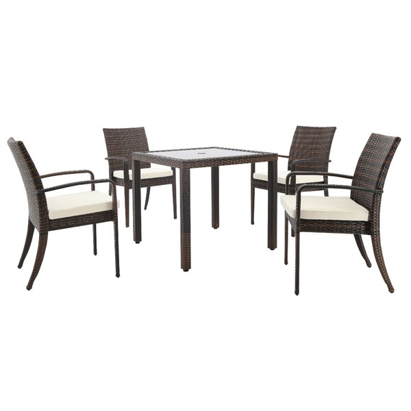 Palmieri Outdoor 5 Piece Dining Set with Cushions by Canora Grey