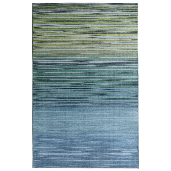 Clement Horizon Line Blue/Green Area Rug by Bungalow Rose