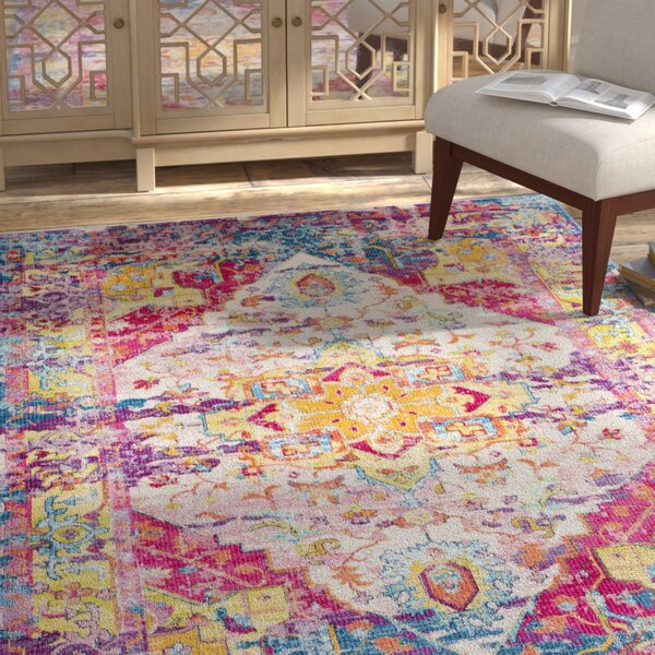 Tillamook Bright Pink/Rose/Blue Area Rug by Bungalow Rose