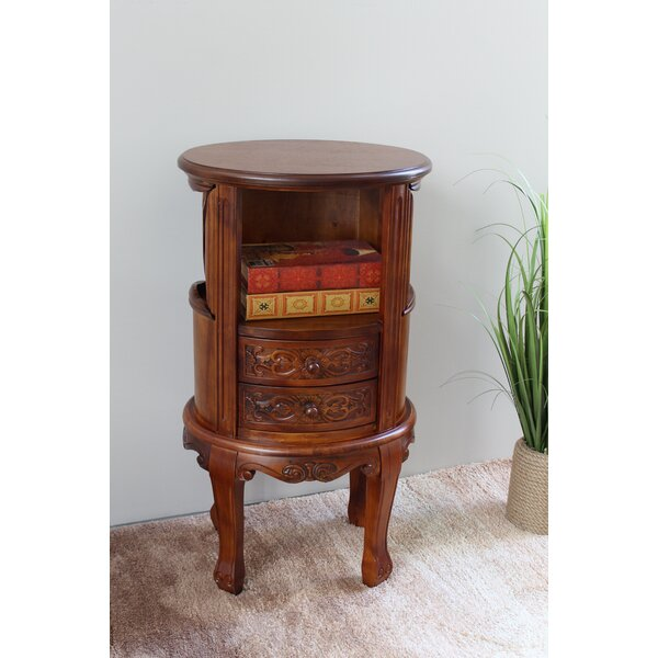 Windsor Hand Carved Collection End Table With Storage By International Caravan