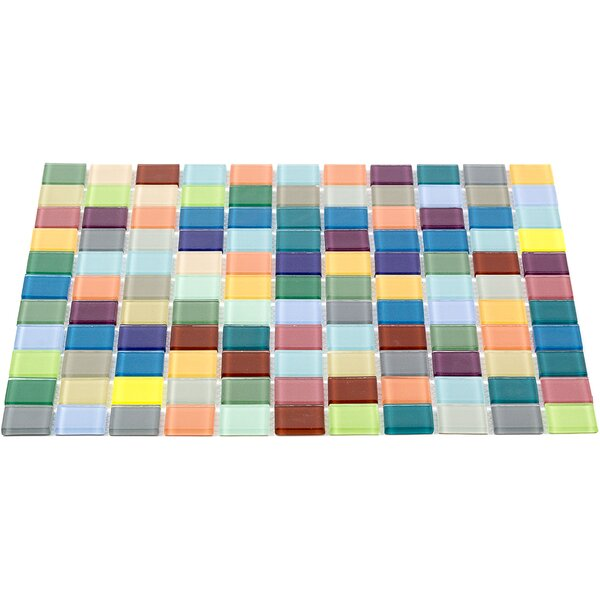 Contempo 1 x 1 Glass Mosaic Tile in Yellow/Blue by Splashback Tile