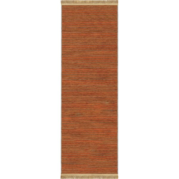 Shipley Harvest Orange Area Rug with Beige Fringe by World Menagerie