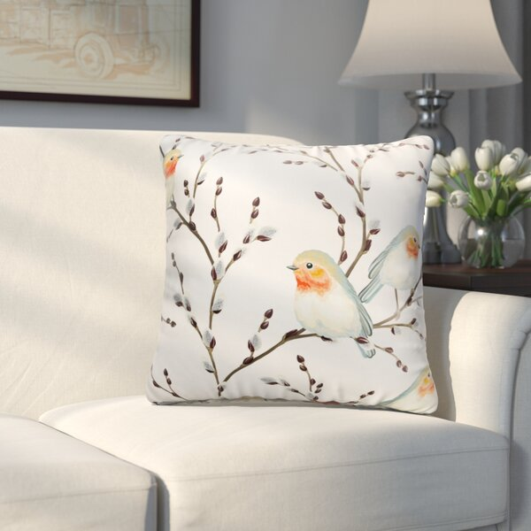 Hutchcraft Birds on the Bursted Branche Throw Pillow by Charlton Home