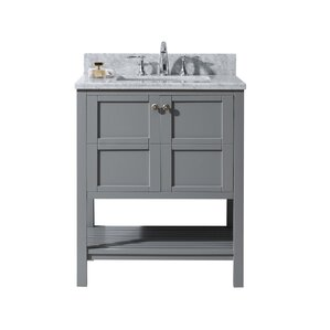 sato 30 single bathroom vanity set with white marble top and mirror