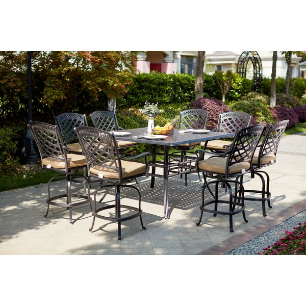 Minix 9 Piece Bar Height Dining Set with Cushions by Canora Grey