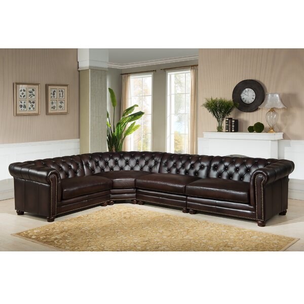 Batey Leather Right Hand Facing Sectional By Alcott Hill