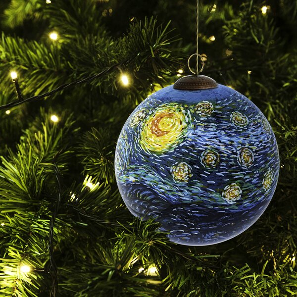 Starry Night Hand Painted Glass Ball Ornament by La Pastiche
