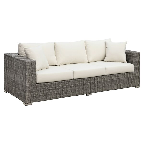 Hillman Faux Rattan Patio Sofa with Cushions by Rosecliff Heights