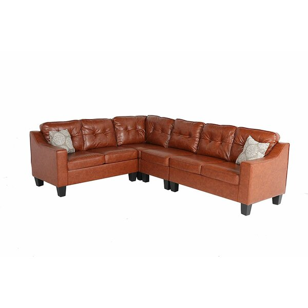 Alvarenga Upholstered Leather Sectional by Red Barrel Studio