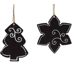 2 Piece Chalkboard Tree/Star Ornament Set