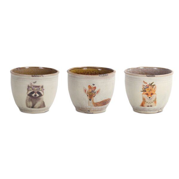Prichard Animal and Floral Pot Planter (Set of 6) by Bungalow Rose