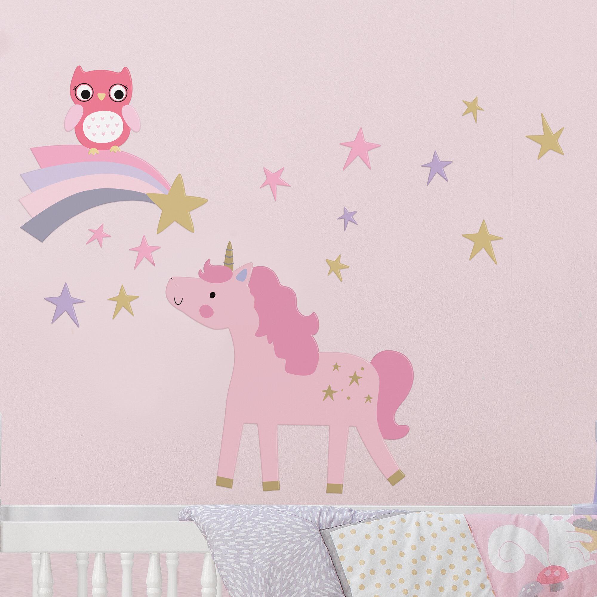 3 Cute Rainbow Unicorn Pony Prints Modern Girls Nursery Wall Art Pictures
