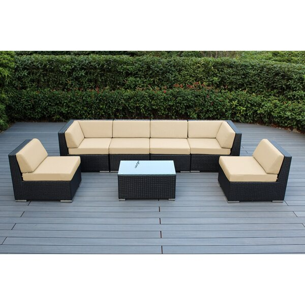 Barneveld 7 Piece Rattan Sunbrella Sectional Seating Group with Cushions by Orren Ellis