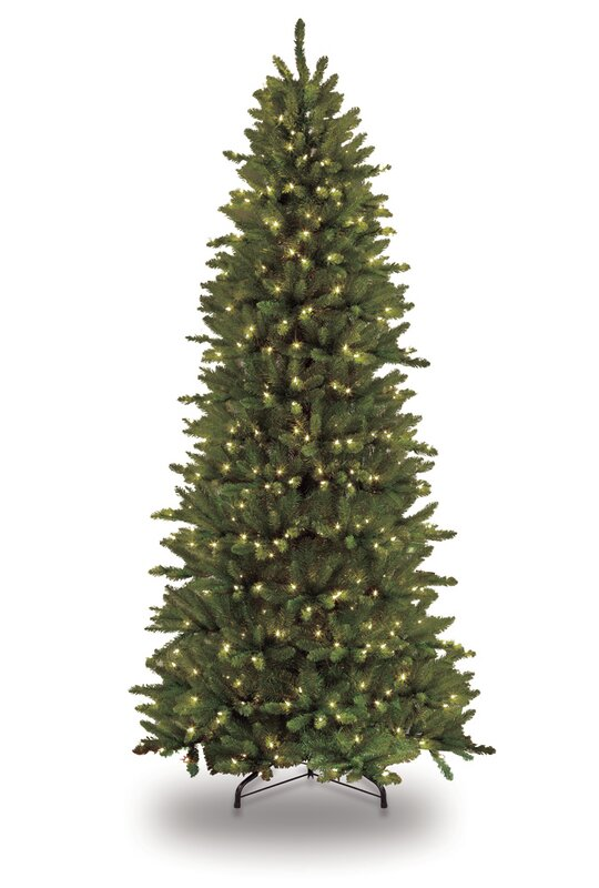 pre lit slim fraser 12 green fir artificial christmas tree with 1200 clear lights - Slim Christmas Trees