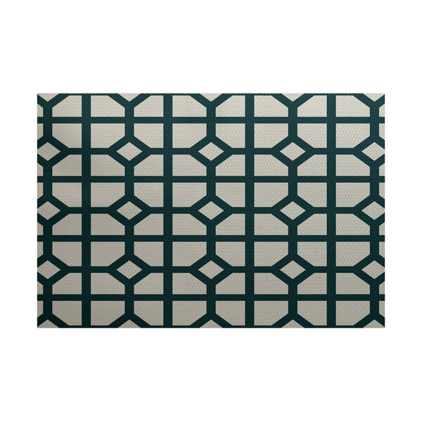 Bertrand Geometric Print Teal Indoor/Outdoor Area Rug by Ebern Designs