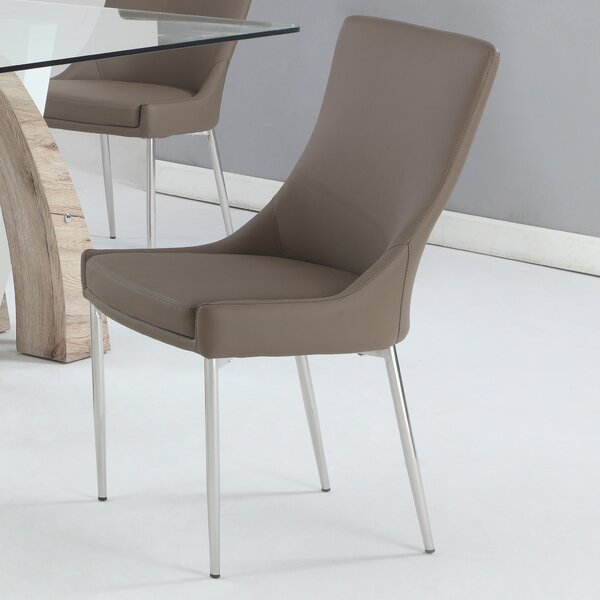 Suyash Genuine Leather Upholstered Dining Chair (Set of 2) by Orren Ellis