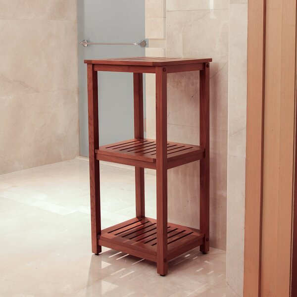 Estate 15.5 W x 32 H x 13.25 D Teak Wood Free-Standing Bathroom Shelves