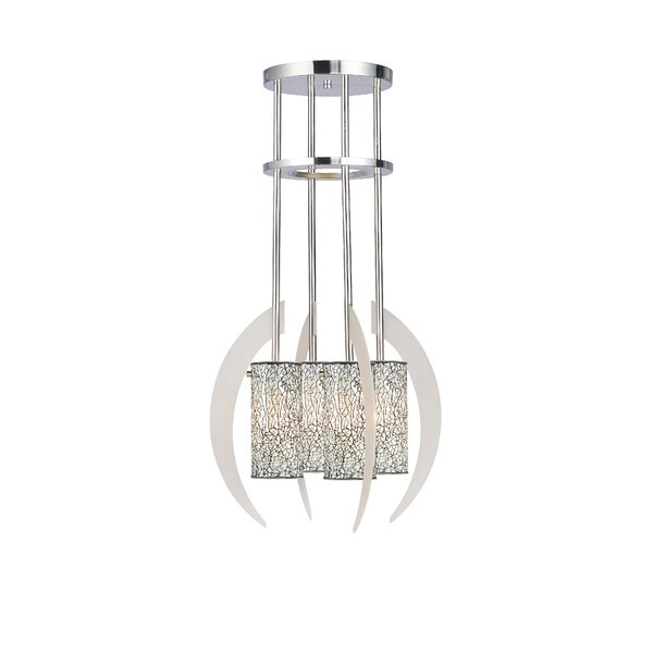 Crescent 4 - Light Shaded Geometric Chandelier By Woodbridge Lighting